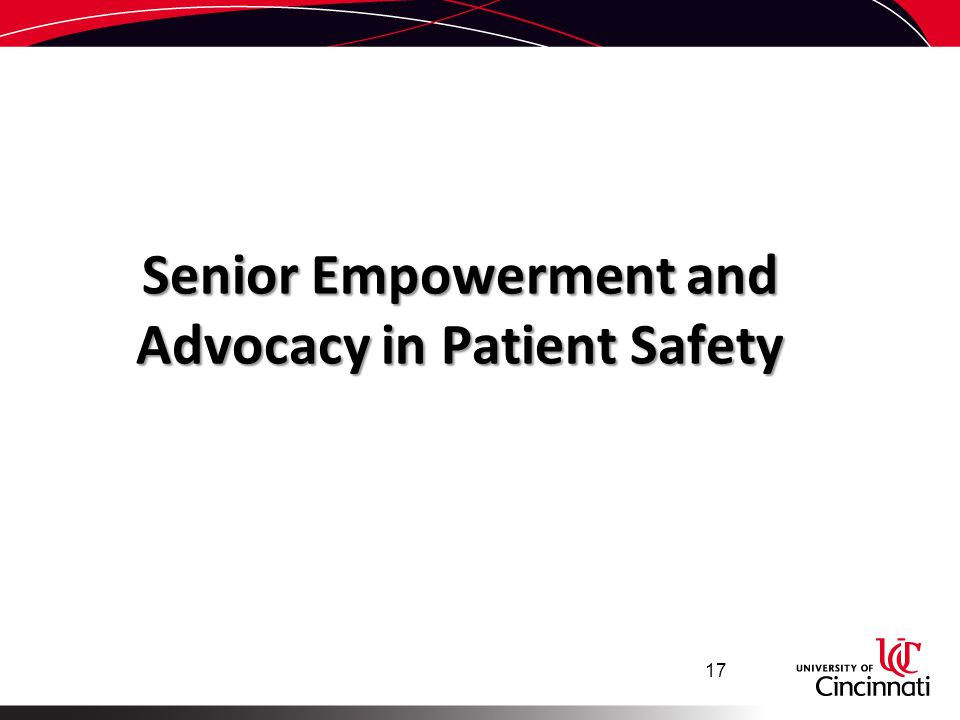 Senior Empowerment and Advocacy in Patient Safety