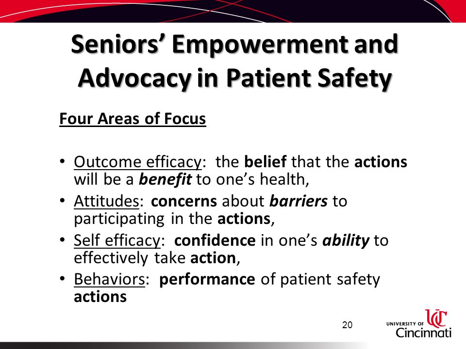 Seniors' Empowerment and Advocacy in Patient Safety