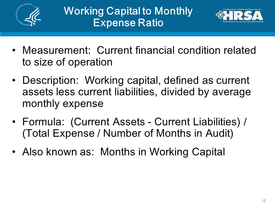 Working Capital to Monthly Expense Ratio
