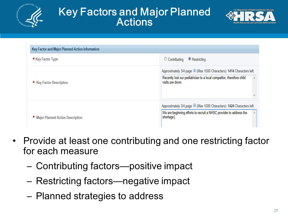 Key Factors and Major Planned Actions