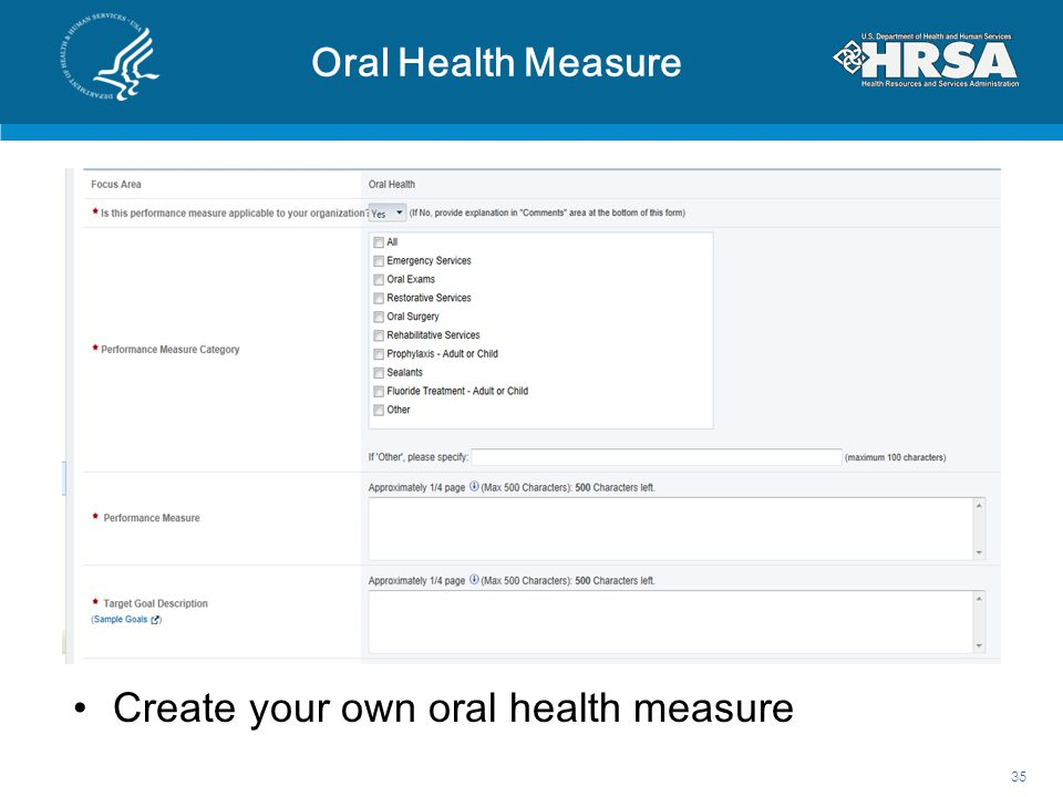 Create your own oral health measure