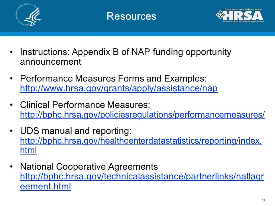 Resources Instructions: Appendix B of NAP funding opportunity announcement.