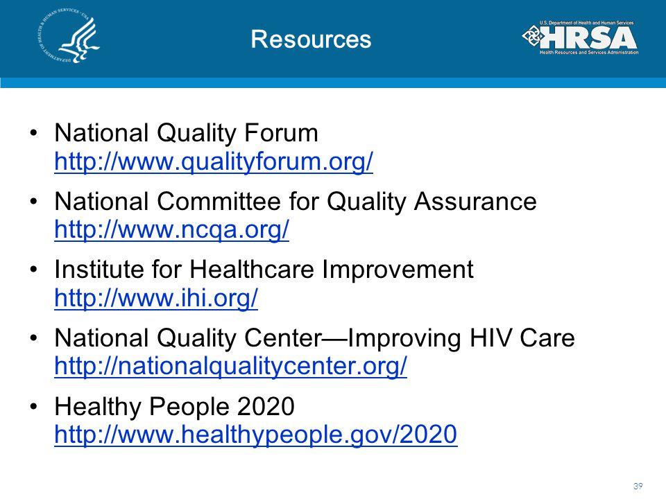 National Quality Forum http://www.qualityforum.org/