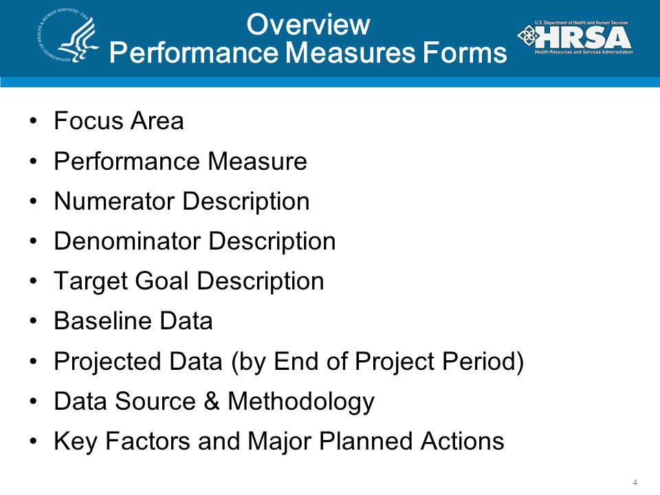 Overview Performance Measures Forms