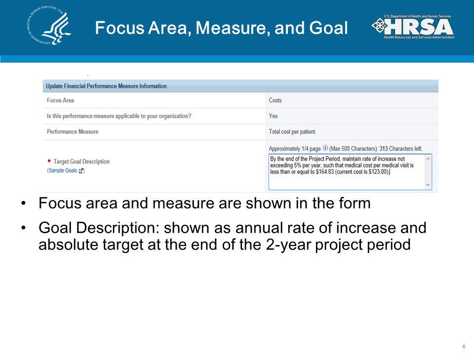 Focus Area, Measure, and Goal
