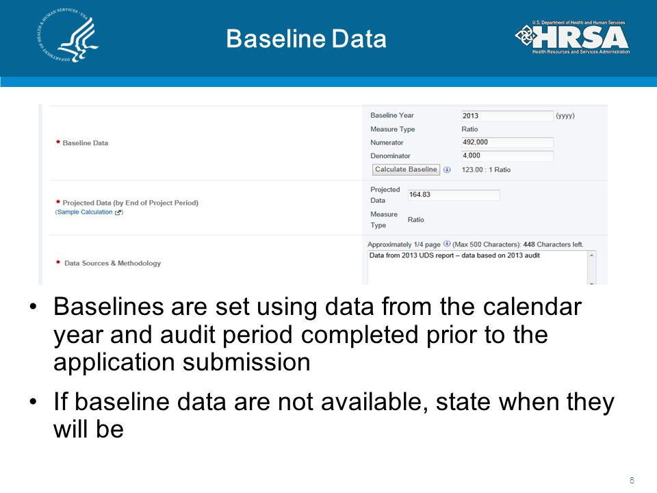 Baseline Data Baselines are set using data from the calendar year and audit period completed prior to the application submission.