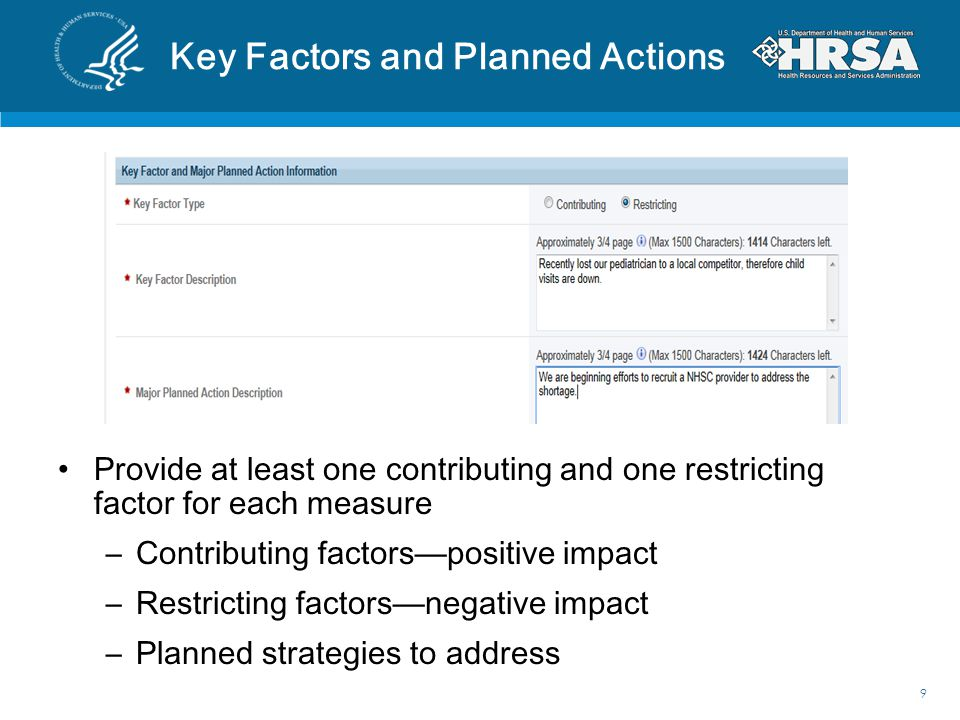 Key Factors and Planned Actions
