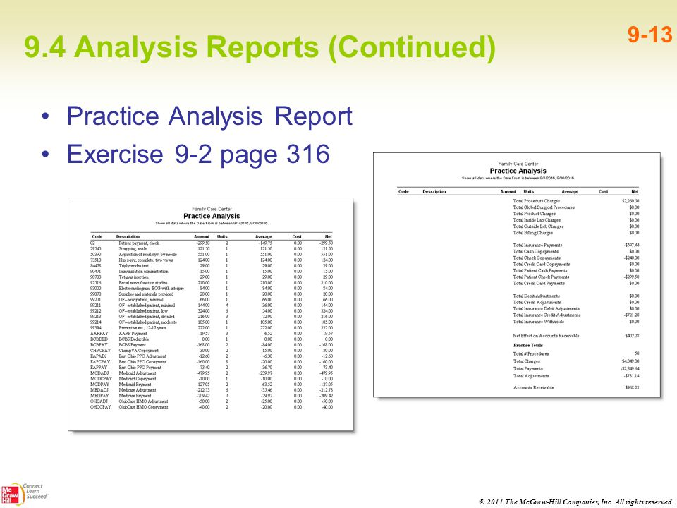 9.4 Analysis Reports (Continued)