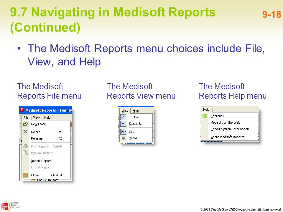 9.7 Navigating in Medisoft Reports (Continued)