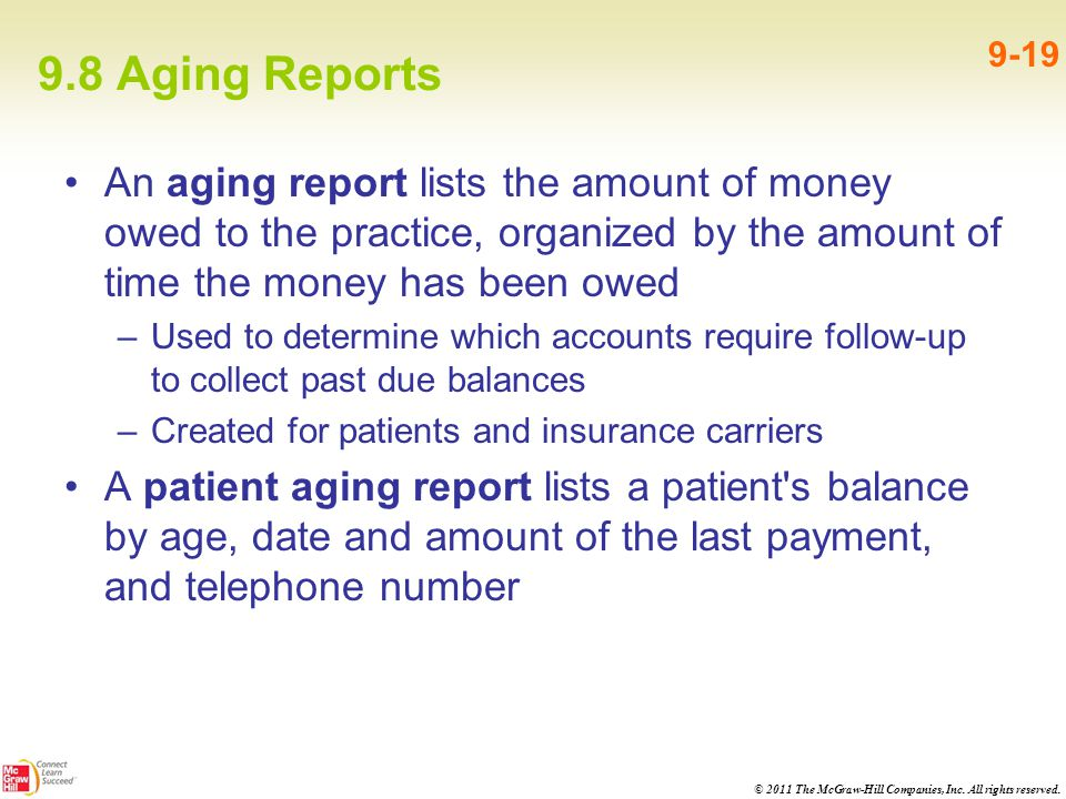 9.8 Aging Reports 9-19. An aging report lists the amount of money owed to the practice, organized by the amount of time the money has been owed.