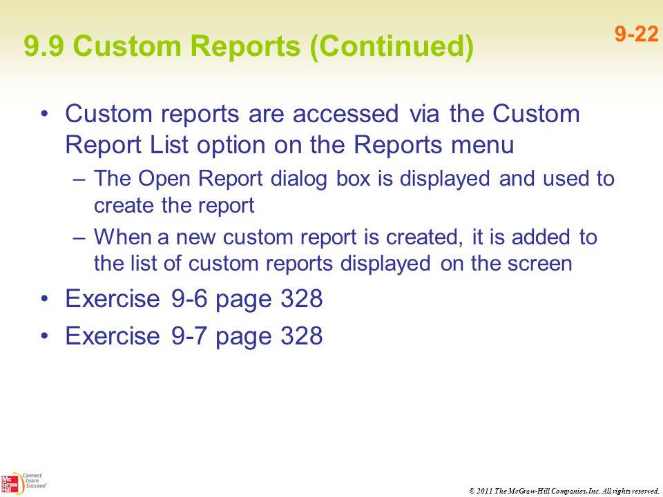 9.9 Custom Reports (Continued)
