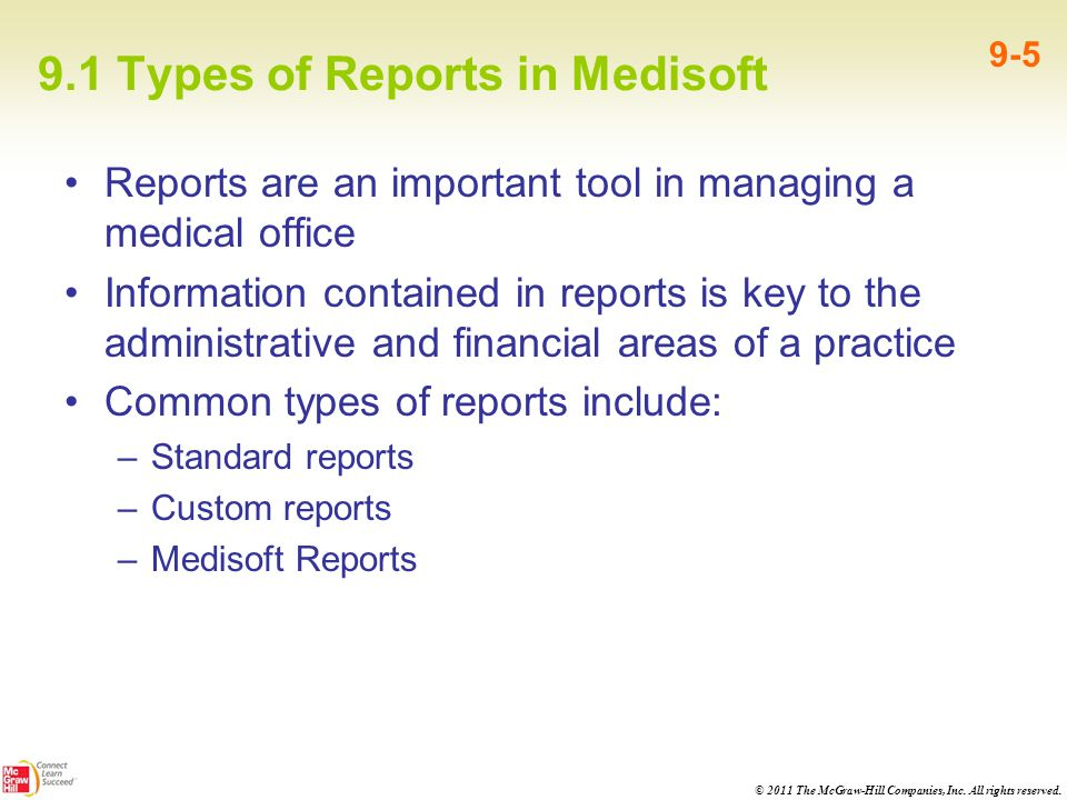 9.1 Types of Reports in Medisoft
