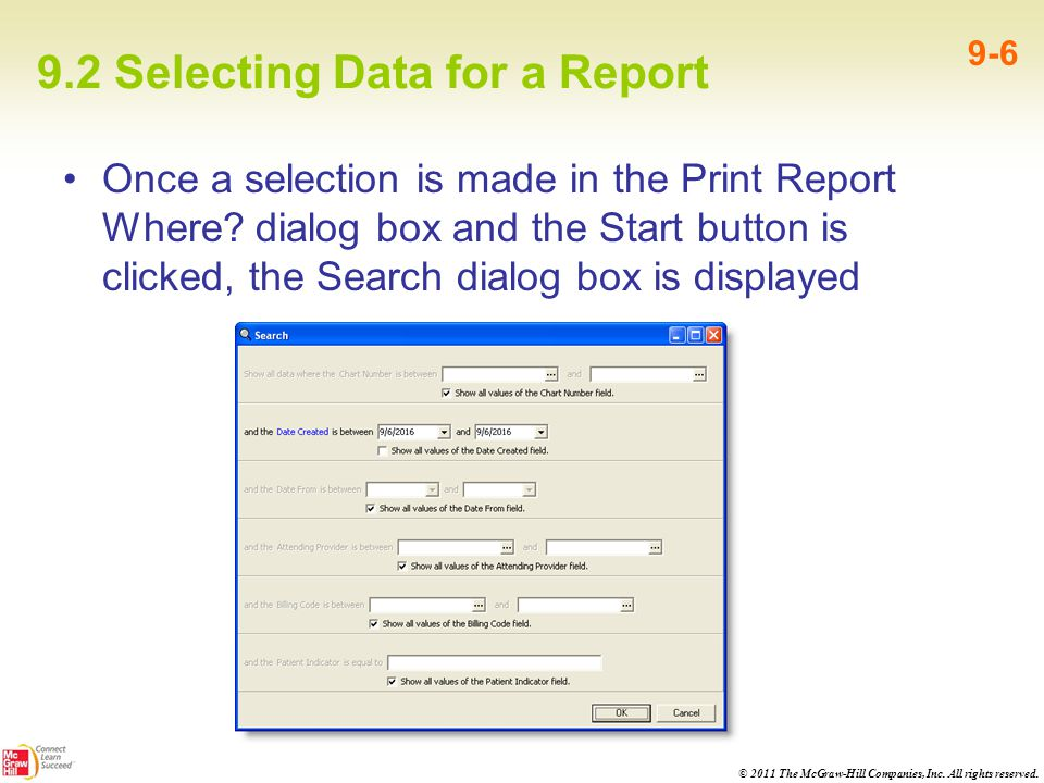 9.2 Selecting Data for a Report