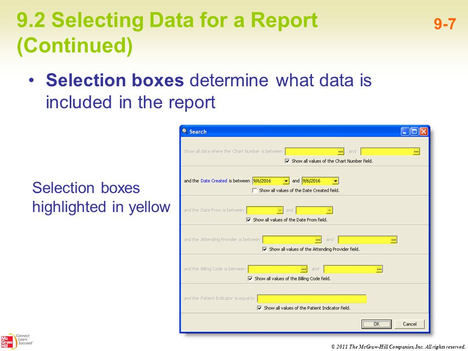 9.2 Selecting Data for a Report (Continued)