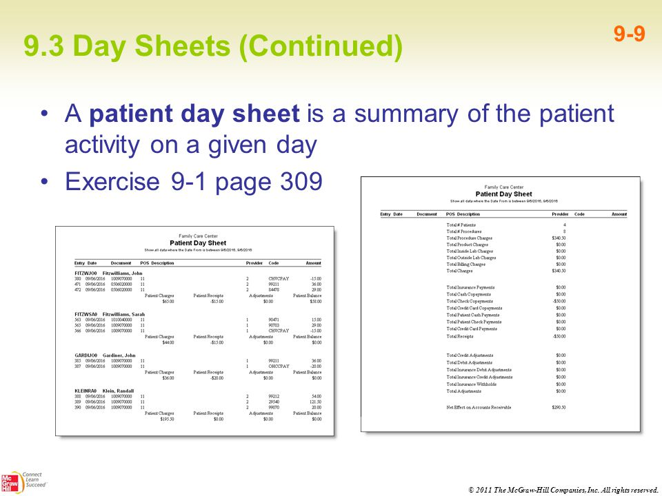 9.3 Day Sheets (Continued)