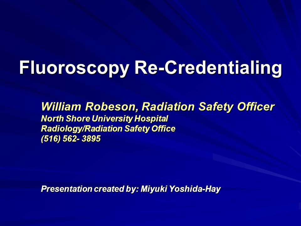 Fluoroscopy Re-Credentialing