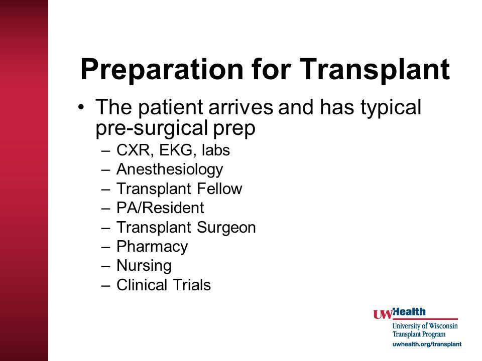 Preparation for Transplant