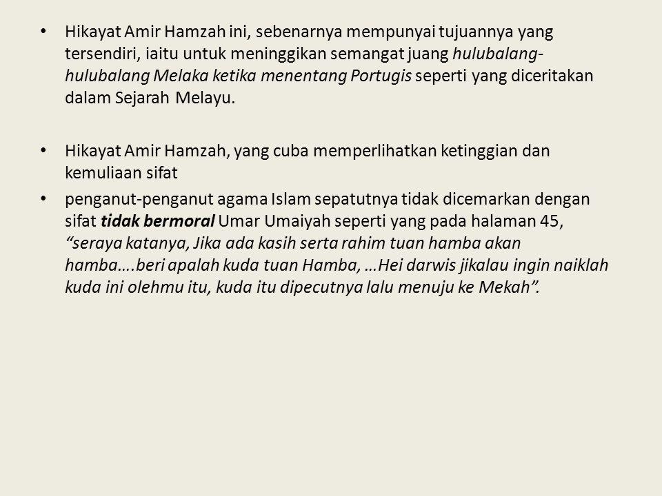 Hikayat Amir Hamzah ini, sebenarnya mempunyai tujuannya yang tersendiri, iaitu untuk meninggikan semangat juang hulubalang-hulubalang Melaka ketika menentang Portugis seperti yang diceritakan dalam Sejarah Melayu.