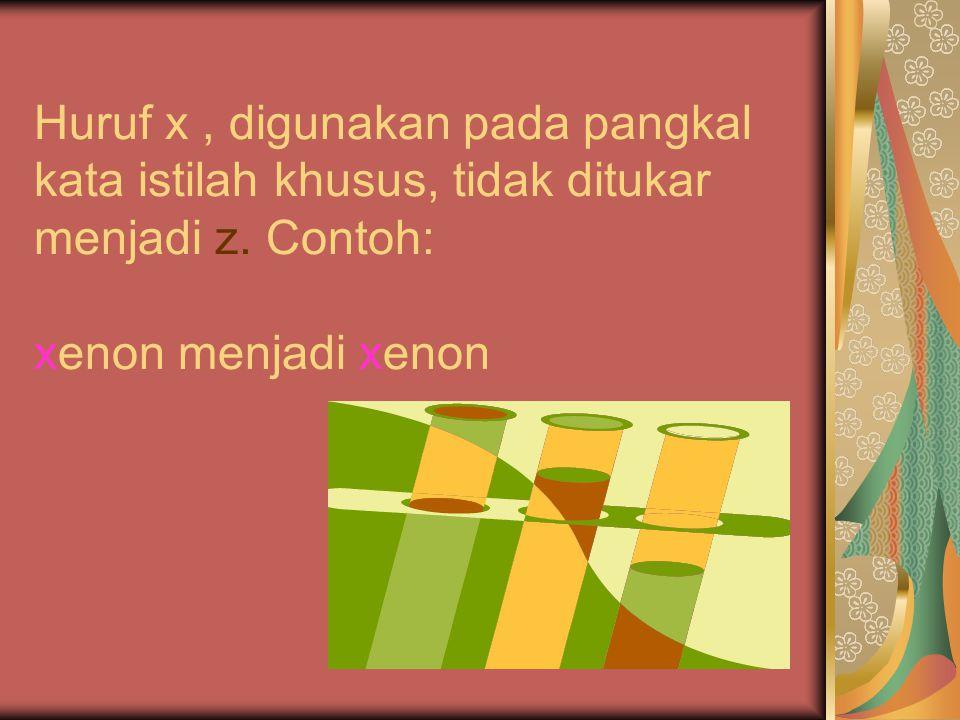 Huruf x , digunakan pada pangkal kata istilah khusus, tidak ditukar menjadi z.