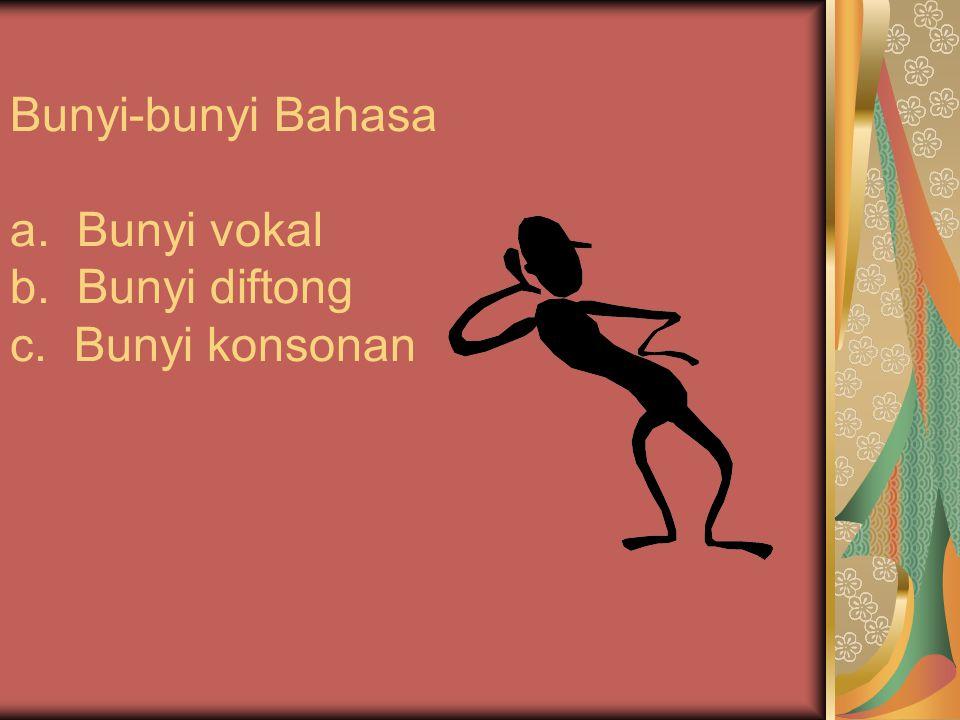 Bunyi-bunyi Bahasa a. Bunyi vokal b. Bunyi diftong c. Bunyi konsonan