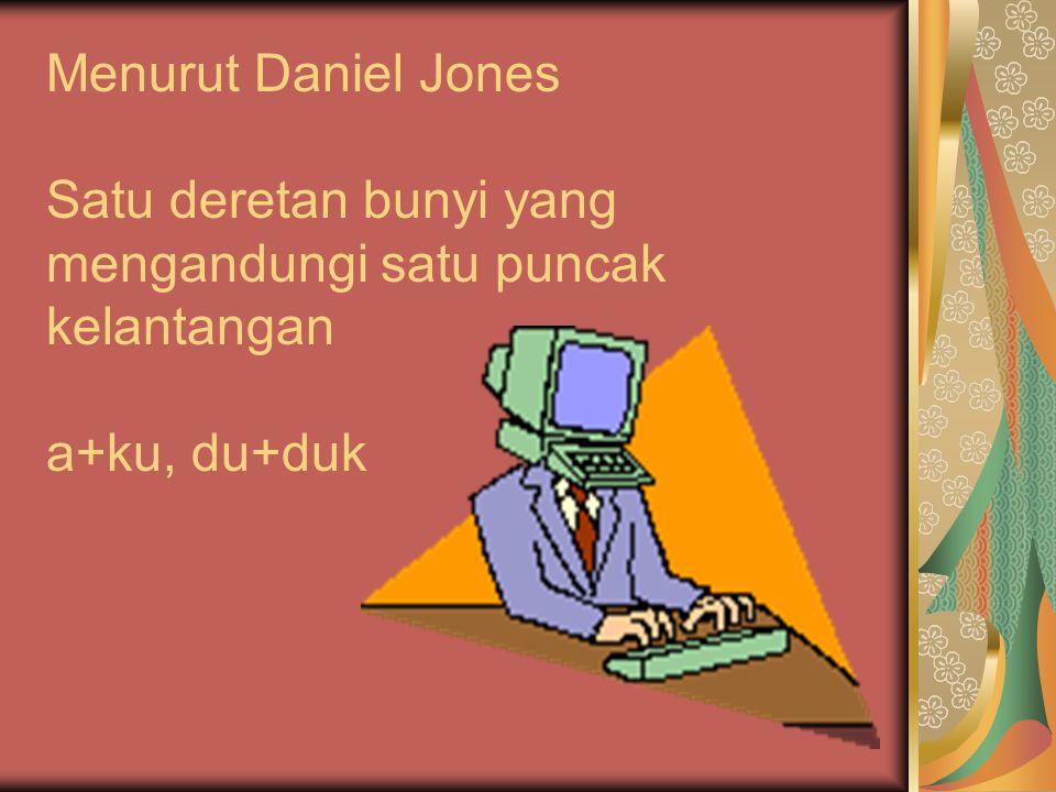 DEFINISI SUKU KATA Menurut Daniel Jones Satu deretan bunyi yang mengandungi satu puncak kelantangan a+ku, du+duk