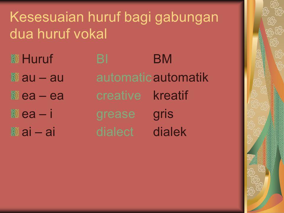 Kesesuaian huruf bagi gabungan dua huruf vokal