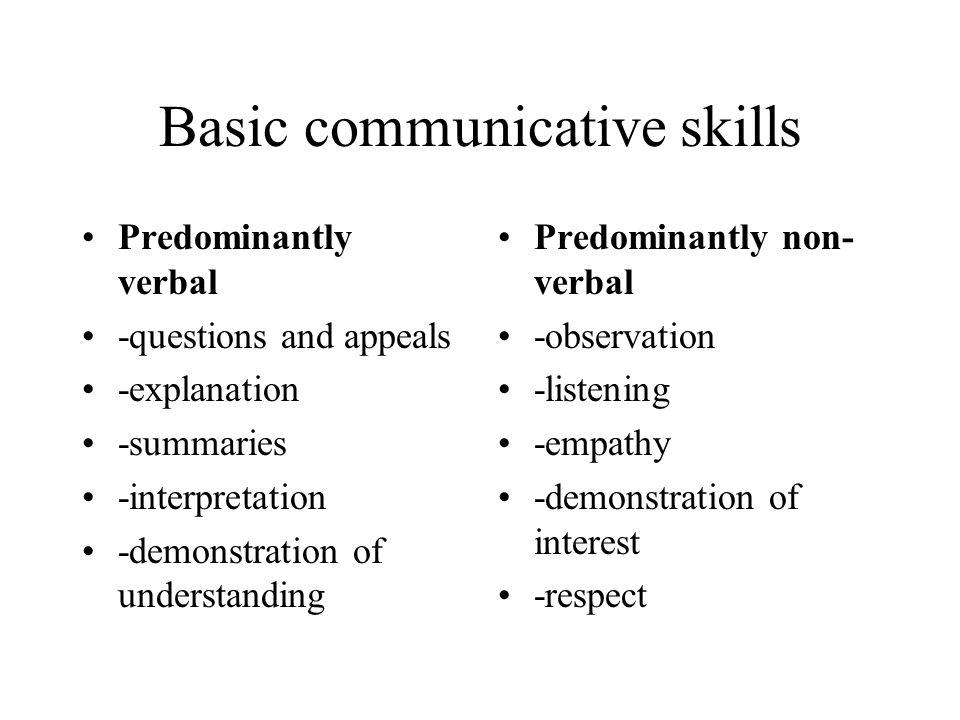 Basic communicative skills