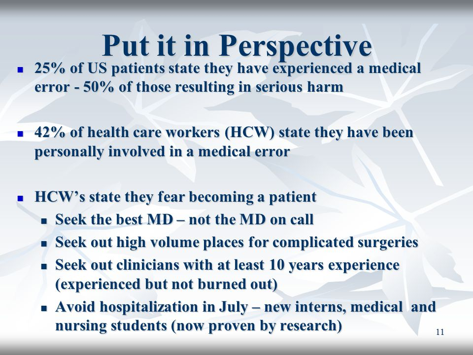 Put it in Perspective 25% of US patients state they have experienced a medical error - 50% of those resulting in serious harm.