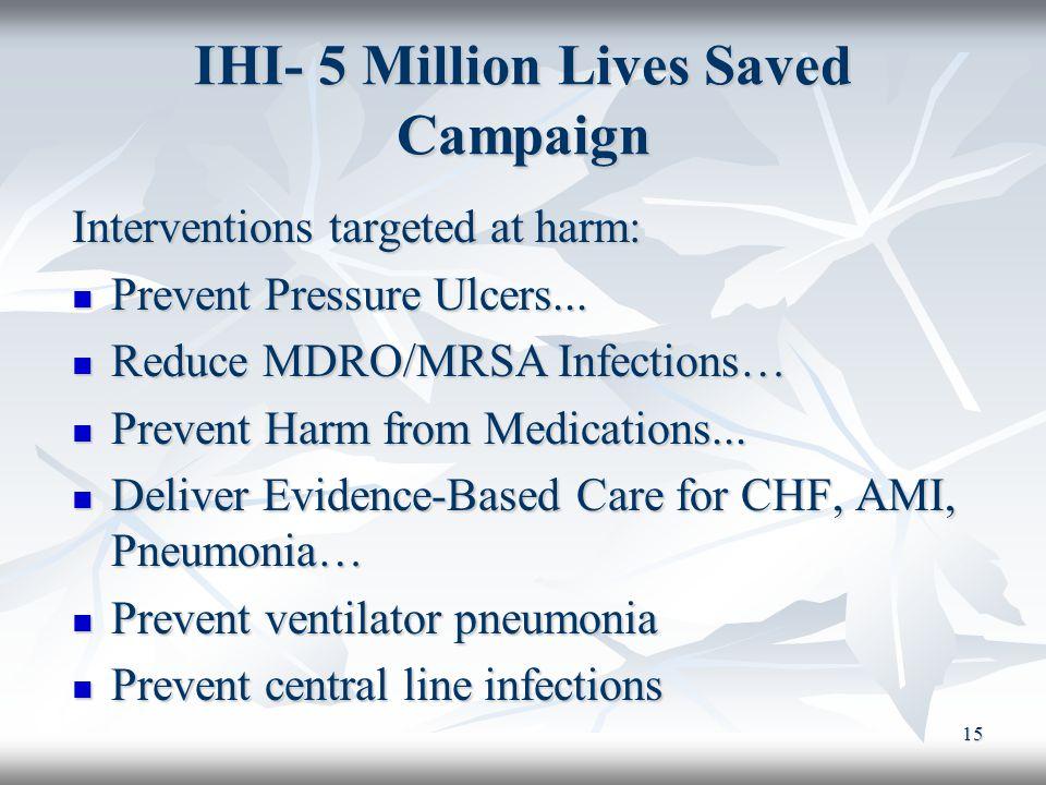 IHI- 5 Million Lives Saved Campaign