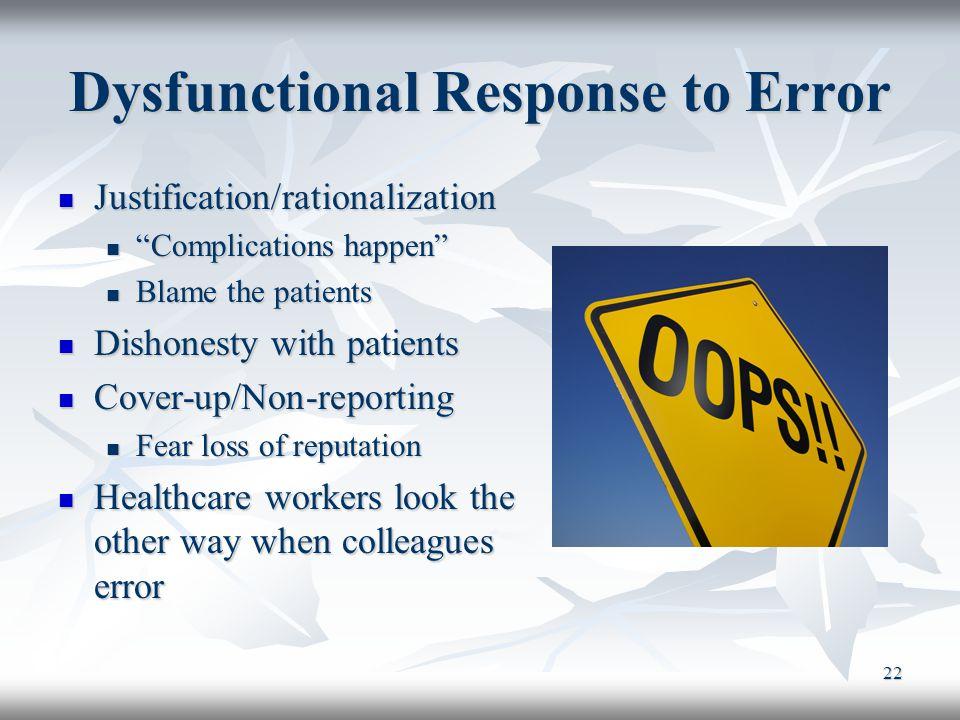 Dysfunctional Response to Error