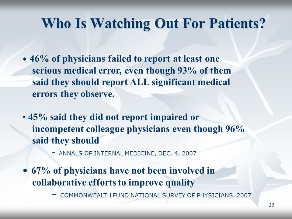 Who Is Watching Out For Patients