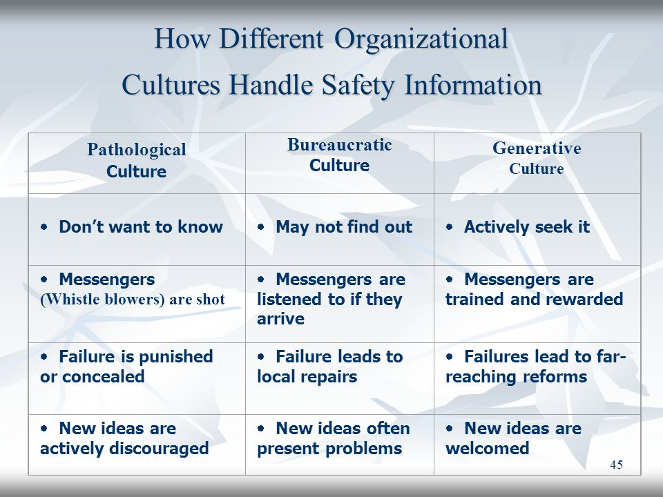 How Different Organizational Cultures Handle Safety Information