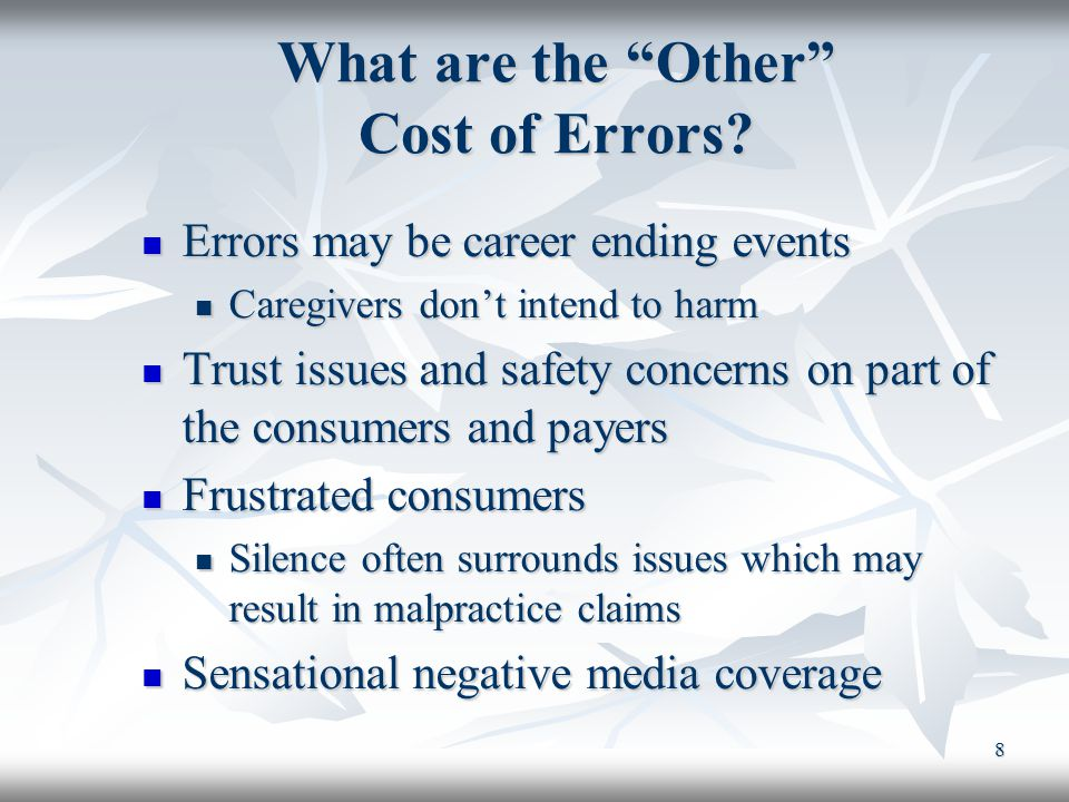 What are the Other Cost of Errors