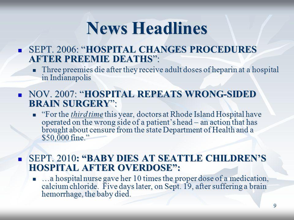 News Headlines SEPT. 2006: HOSPITAL CHANGES PROCEDURES AFTER PREEMIE DEATHS :