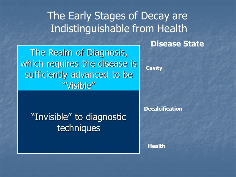 The Early Stages of Decay are Indistinguishable from Health