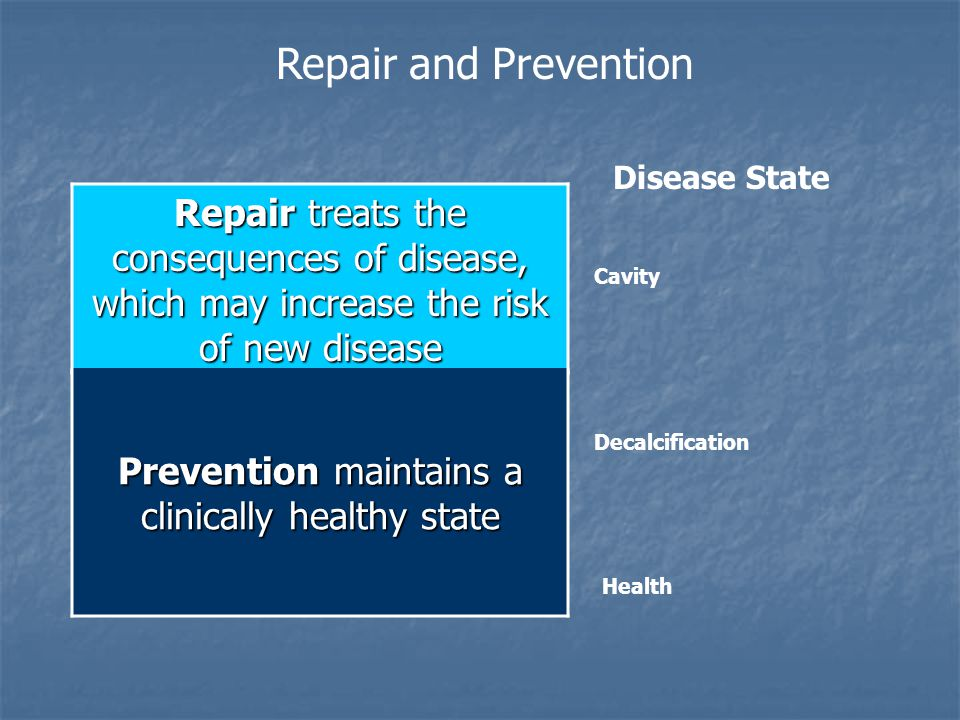 Prevention maintains a clinically healthy state