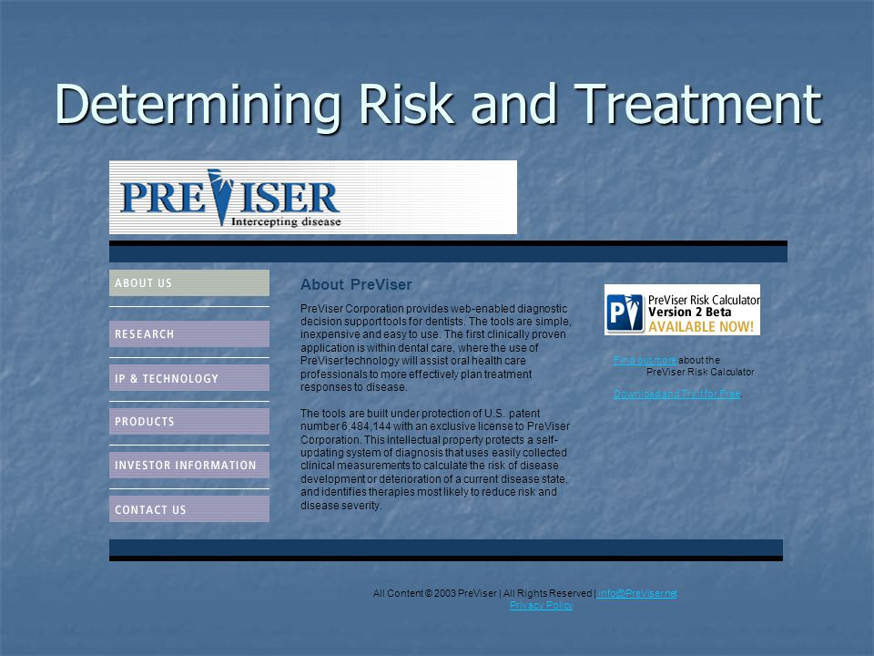 Determining Risk and Treatment