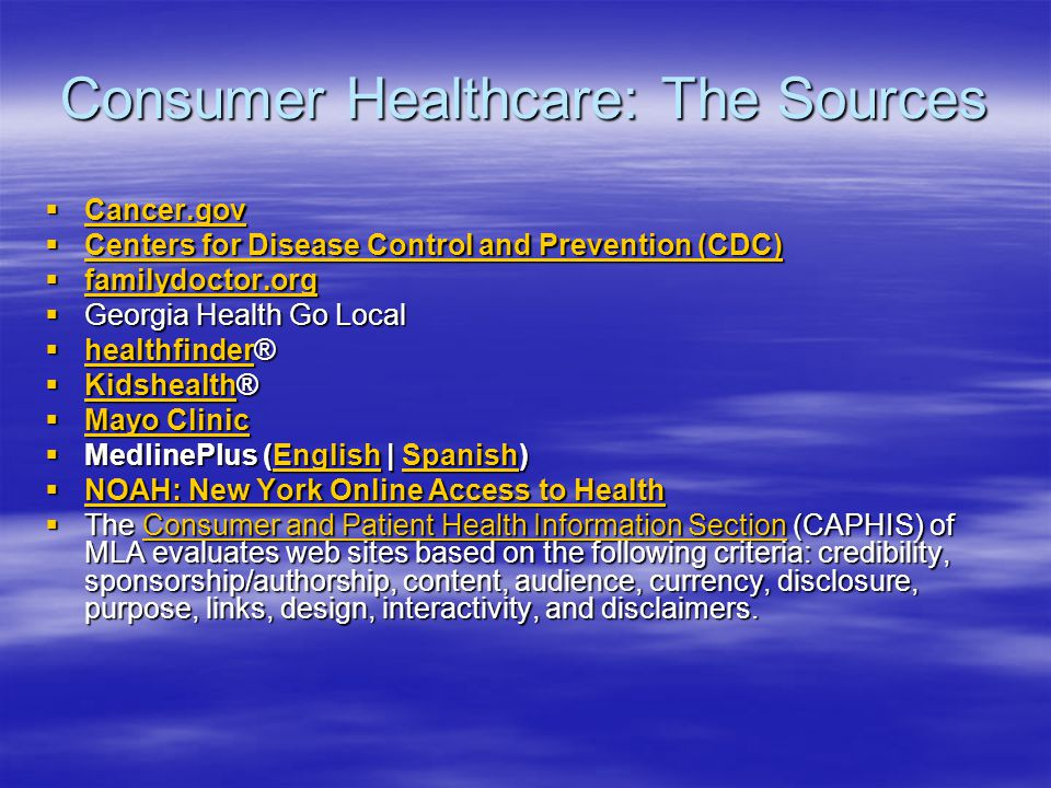 Consumer Healthcare: The Sources