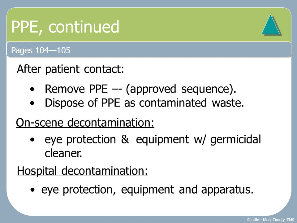 PPE, continued After patient contact: