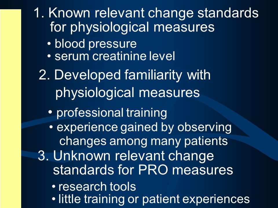 1. Known relevant change standards for physiological measures