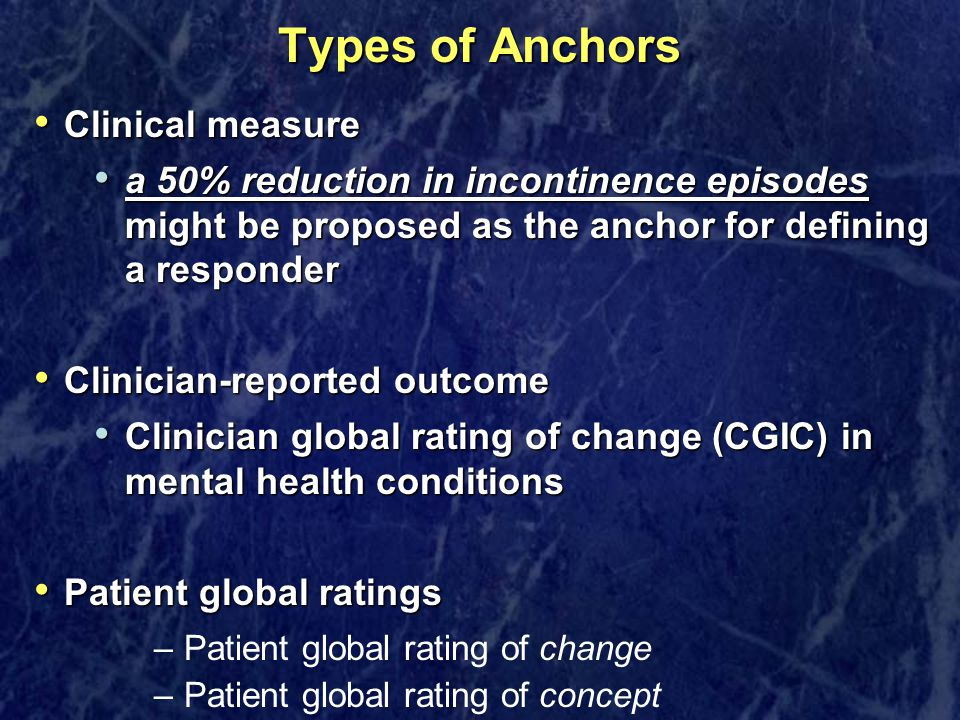 Types of Anchors Clinical measure