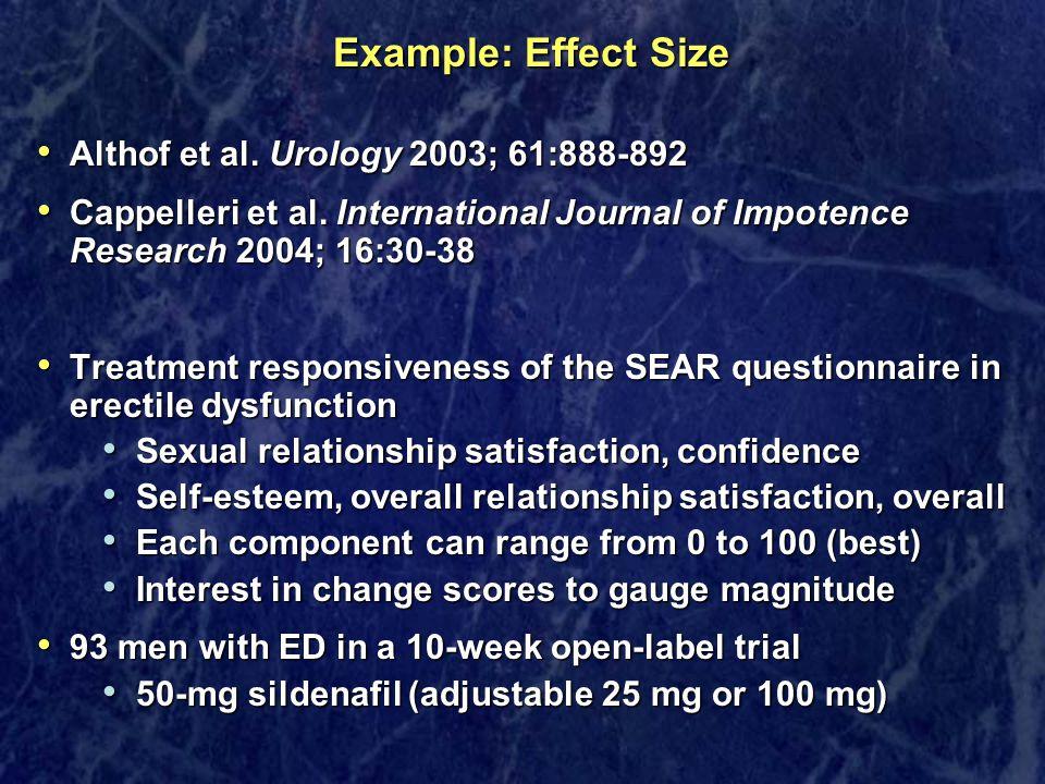 Example: Effect Size Althof et al. Urology 2003; 61:888-892