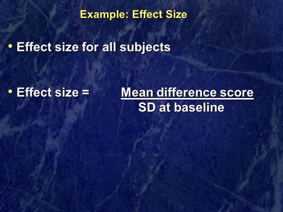 Effect size for all subjects
