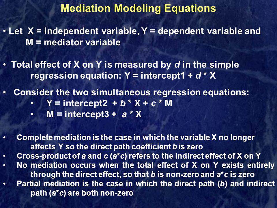 Mediation Modeling Equations