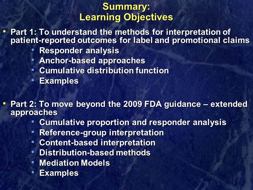 Summary: Learning Objectives