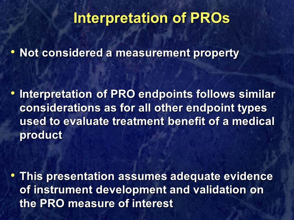 Interpretation of PROs
