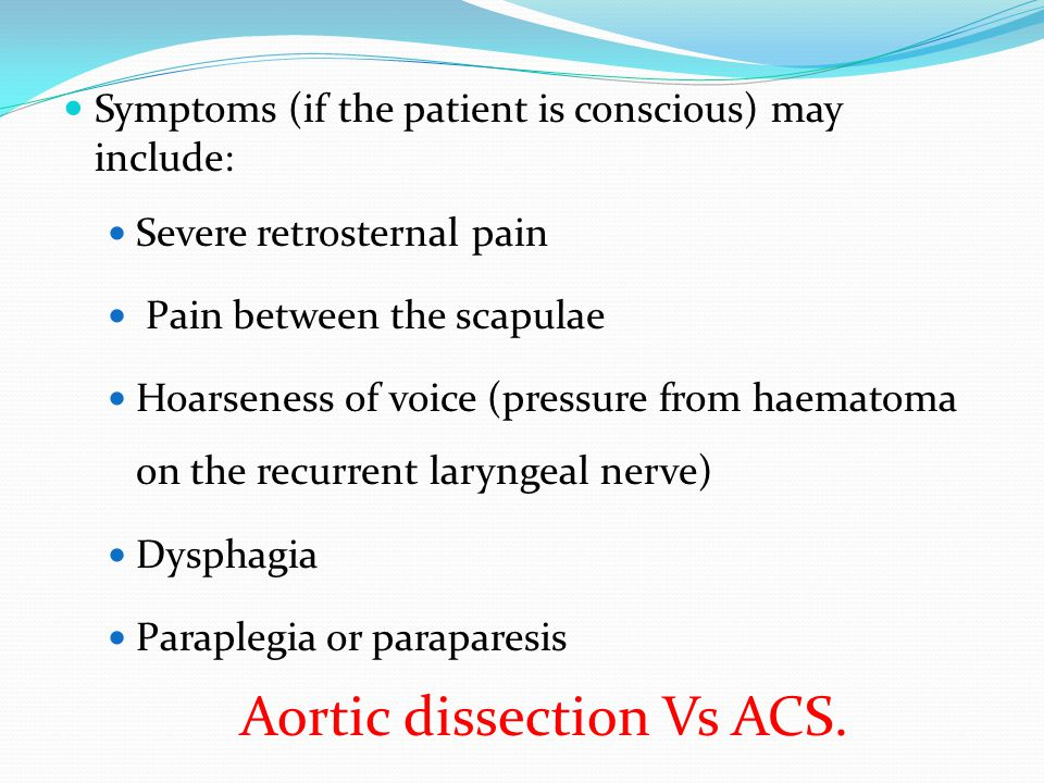 Aortic dissection Vs ACS.