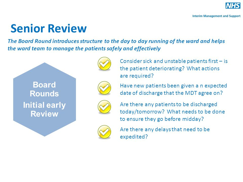 Senior Review Board Rounds Initial early Review