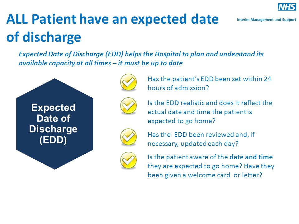 Expected Date of Discharge (EDD)