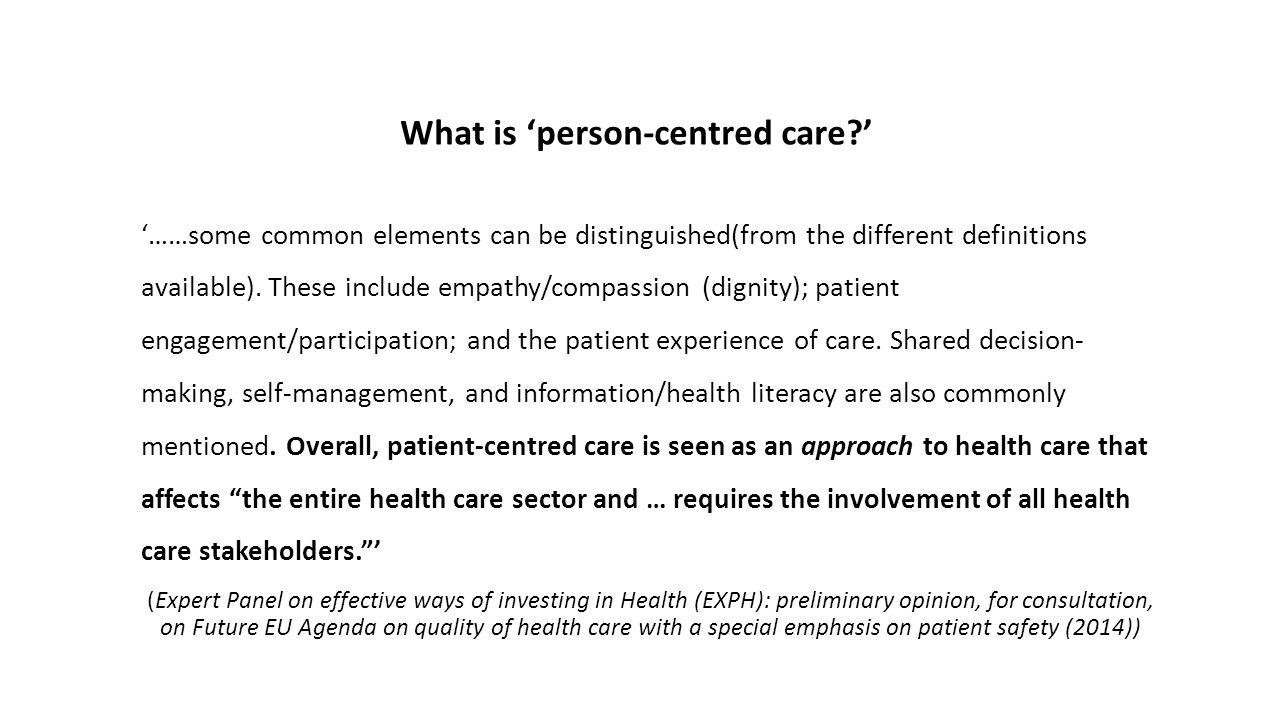 What is 'person-centred care '